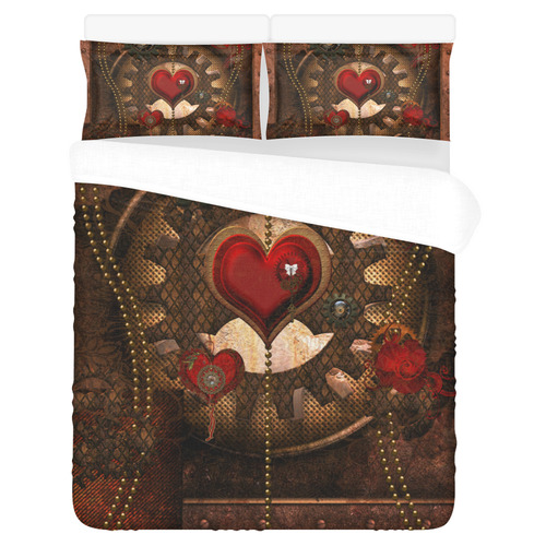 Steampunk, awesome herats with clocks and gears 3-Piece Bedding Set