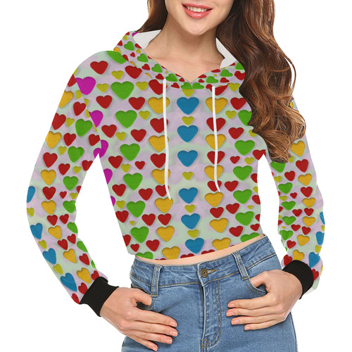 So sweet and hearty as love can be All Over Print Crop Hoodie for Women (Model H22)