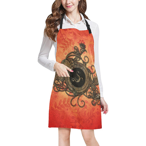 Decorative design, red and black All Over Print Apron