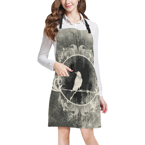 The crow with flowers, vintage design All Over Print Apron