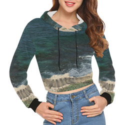 72b30ff2b2490 Iguana Crop Top Hoddie Women All Over Print Crop Hoodie for Women (Model  H22)