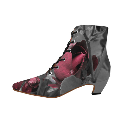 Hued Rose Bud Women's Pointed Toe Low Heel Booties (Model 052)