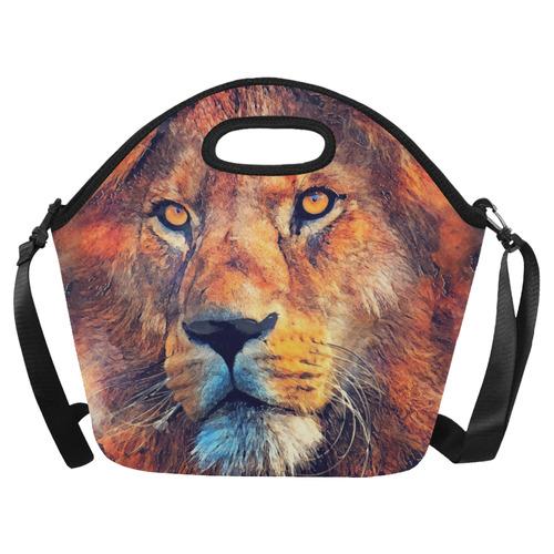 lion art #lion #animals #cat Neoprene Lunch Bag/Large (Model 1669)