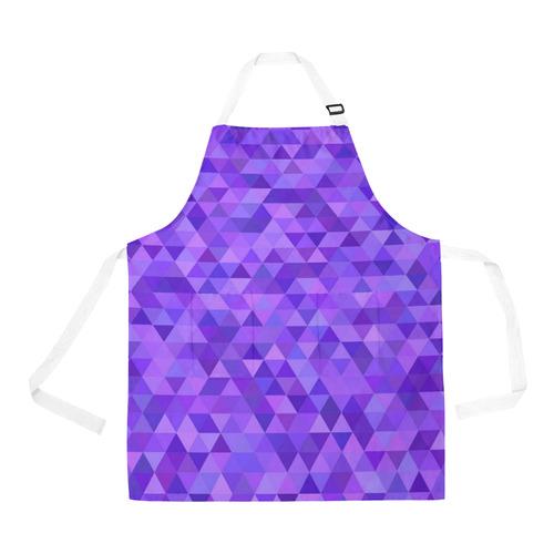 Purple Triangles All Over Print Apron