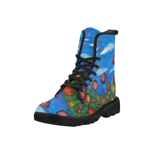 Field of Flowers #1 Martin Boots for Women (Black) (Model 1203H)