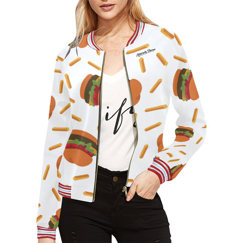 Burgers and Fries All Over Print Bomber Jacket for Women (Model H21)