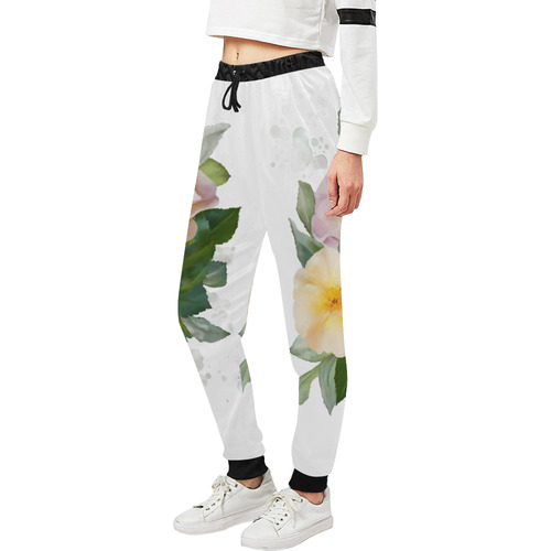 2 Wild Roses floral watercolor Unisex All Over Print Sweatpants (Model L11)