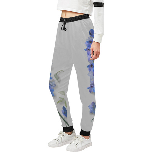 Blue - Violet Consolida original floral watercolor Unisex All Over Print Sweatpants (Model L11)