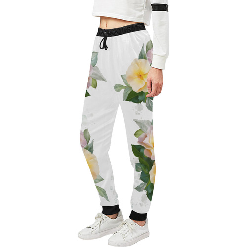 2 Wild Roses floral watercolor Women's All Over Print Sweatpants (Model L11)