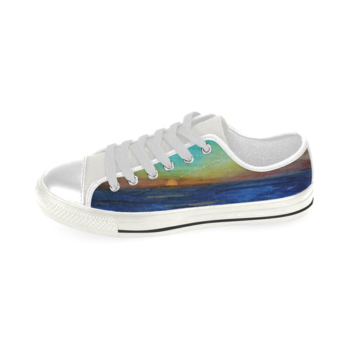 Sunset Seacape #1 Low Top Canvas Shoes for Kid (Model 018)
