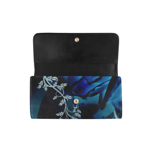 Floral design, blue colors Women's Trifold Wallet (Model 1675)