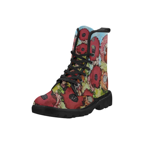 floral abstract #6 Martin Boots for Women (Black) (Model 1203H)