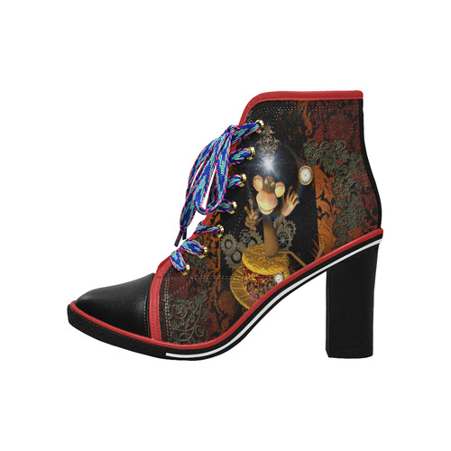 Steampunk, funny monkey Women's Lace Up Chunky Heel Ankle Booties (Model 054)