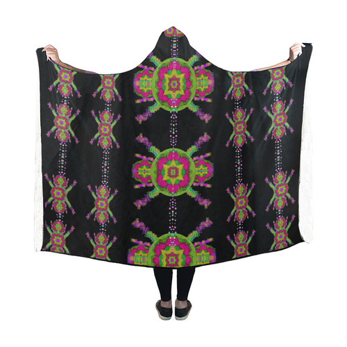 paradise flowers in a decorative jungle Hooded Blanket 60''x50''