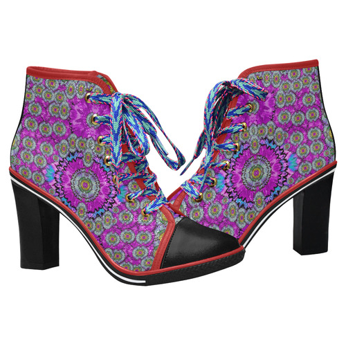 Spring time in colors and decorative fantasy bloom Women's Lace Up Chunky Heel Ankle Booties (Model 054)