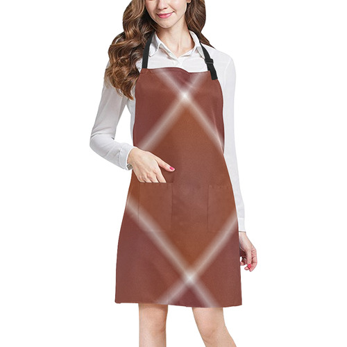 Brown and White Tartan Plaid All Over Print Apron