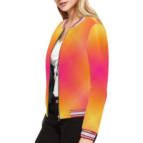 Fuchsia and Yellow Tartan Plaid All Over Print Bomber Jacket for Women (Model H21)