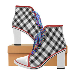0416b1088543 Black and White Tartan Plaid White Heel and Toe Women s Lace Up Chunky Heel  Ankle Booties