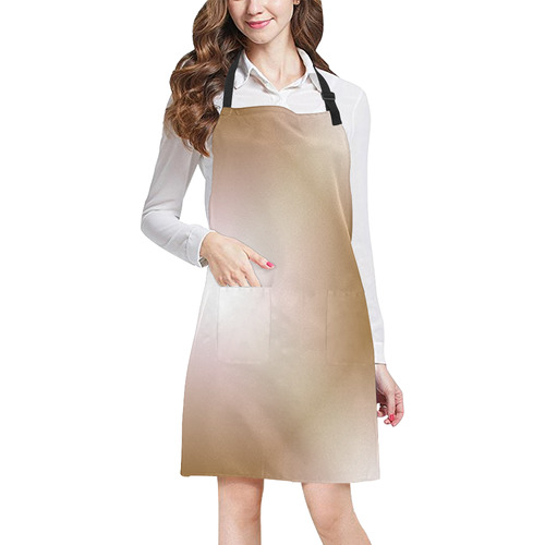 Beige and White Tartan Plaid All Over Print Apron