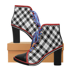 308bf26881d7 Black and White Tartan Plaid Black Heel and Toe Women s Lace Up Chunky Heel  Ankle Booties