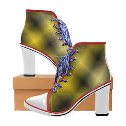 13170ddb0ea4 Gold and Black Tartan Plaid White Heel and Toe Women s Lace Up Chunky Heel  Ankle Booties