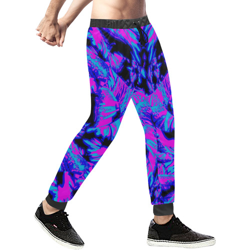 Fluorescent 80s Blacklight Men's All Over Print Sweatpants (Model L11)