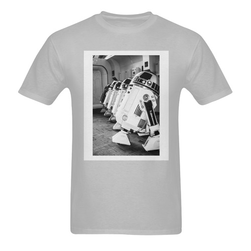 Grey White Frame Droid Line Men's Tee Men's T-Shirt in USA Size (Two Sides Printing)