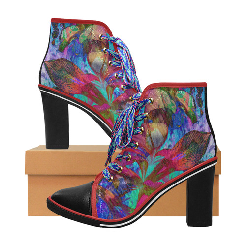 Abstract Iris Blue by Martina Webster Women's Lace Up Chunky Heel Ankle Booties (Model 054)