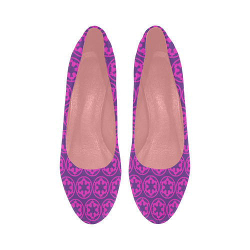 Purple Pink Imperial Cog Print Platform High Heels Women's High Heels (Model 044)