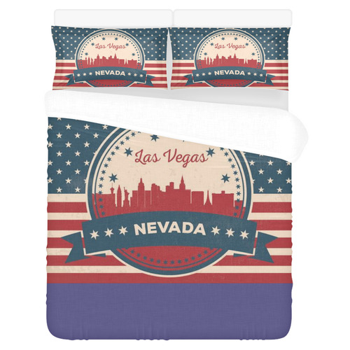 Retro Las Vegas Skyline 3-Piece Bedding Set