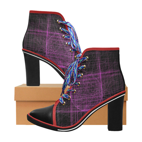 Purple / magenta abstract glitch on black Women's Lace Up Chunky Heel Ankle Booties (Model 054)