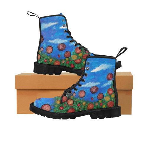 Flower field Martin Boots for Women (Black) (Model 1203H)