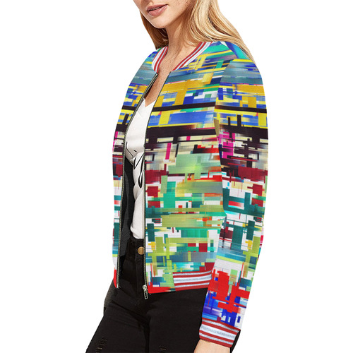 Colorful City Abstract All Over Print Bomber Jacket for Women (Model H21)