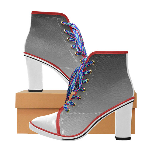 f2515c1c885 Black Silver and White Ombre White Heel and Toe Women's Lace Up Chunky Heel  Ankle Booties (Model 054)