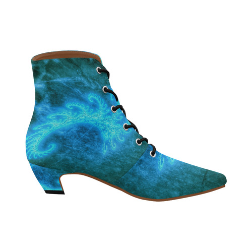 Blue Spiral Fractal Women's Pointed Toe Low Heel Booties (Model 052)