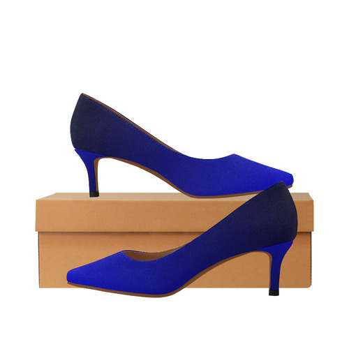 9924176ac Royal Blue and Black Ombre Women's Pointed Toe Low Heel Pumps (Model 053) |  ID: D2317561