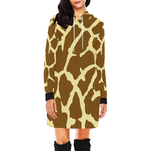 Giraffe Print All Over Print Hoodie Mini Dress (Model H27)