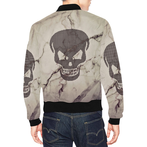 dotted skull on marble A All Over Print Bomber Jacket for Men (Model H19)