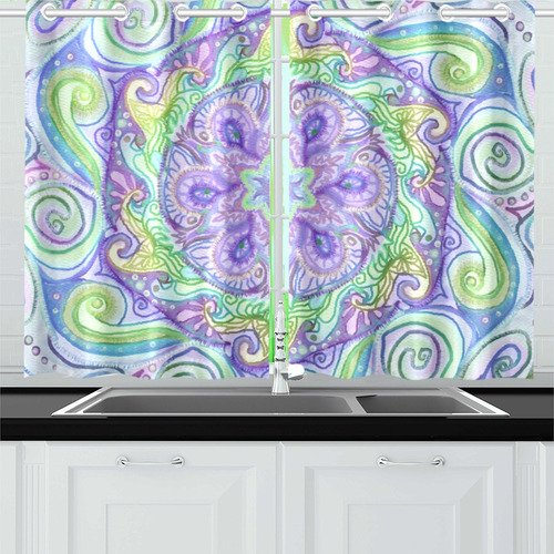 mandala curls 10 Kitchen Curtain 26'' X 39''(2 Pieces, 1 Design)