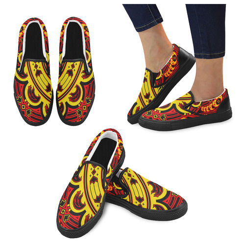 Sun Bear (Yellow/Red) Slip-on Canvas Shoes for Men/Large Size (Model 019)