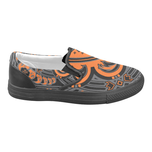 Sun Bear (Orange/Gray) Slip-on Canvas Shoes for Men/Large Size (Model 019)