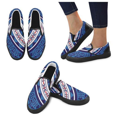 Bear Spirit Blue Slip-on Canvas Shoes for Men/Large Size (Model 019)