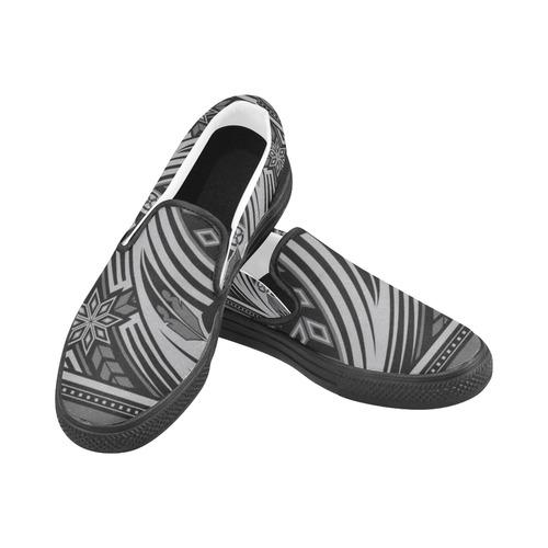 Wind Spirit (Gray) Slip-on Canvas Shoes for Men/Large Size (Model 019)