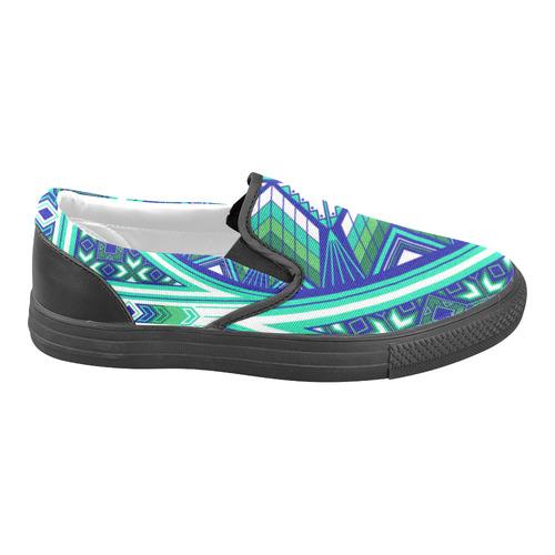 Sacred Places Aqua Slip-on Canvas Shoes for Men/Large Size (Model 019)