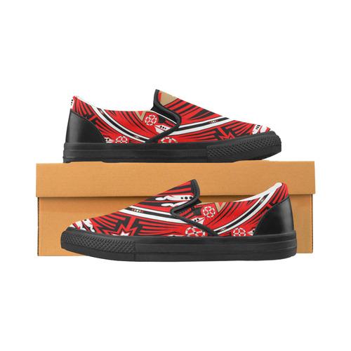 Wind Spirit (Red/Black) Slip-on Canvas Shoes for Men/Large Size (Model 019)