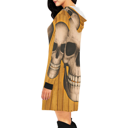 skull on wooden planks B by JamColors All Over Print Hoodie Mini Dress (Model H27)