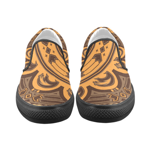 Sun Bear (Orange/Brown) Slip-on Canvas Shoes for Men/Large Size (Model 019)