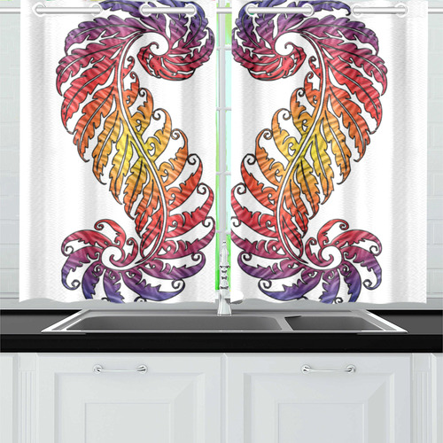 Fern Centipede Kitchen Curtain 26'' X 39''(2 Pieces, 1 Design)