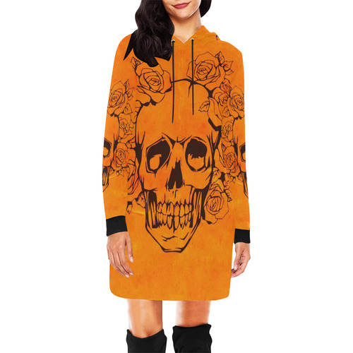 Skull with roses,orange All Over Print Hoodie Mini Dress (Model H27)