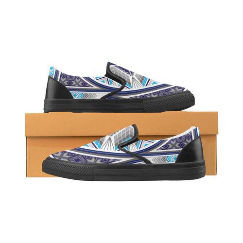 Sacred Places Blue Slip-on Canvas Shoes for Men/Large Size (Model 019)
